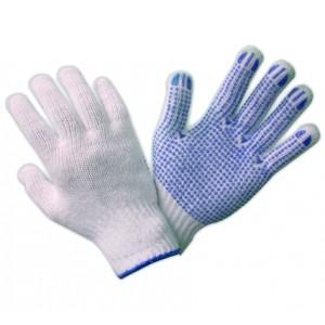 Rękawice dziane nakrapiane PCV R452 niebieskie (12 par)